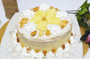 Ananaslı bademli yaş pasta tarifi