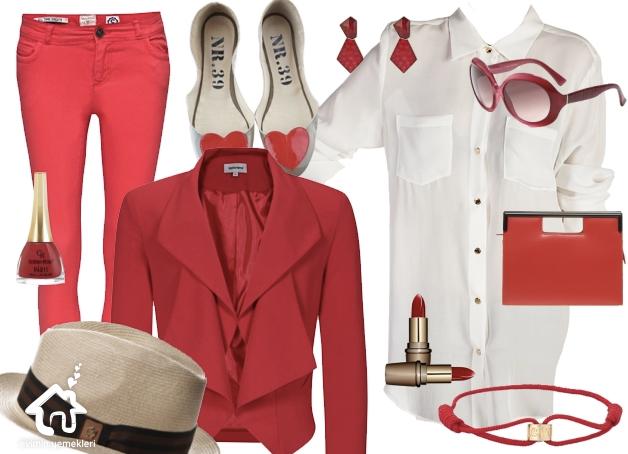 Kırmızı - Beyaz uyumu kıyafet kombinim